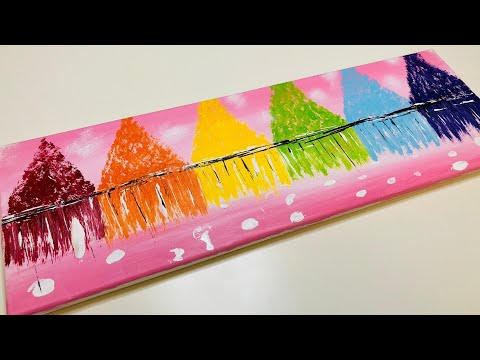 Rainbow Trees Landscape Acrylic Painting For Beginners|Relaxing Abstract Easy & Simple Demo