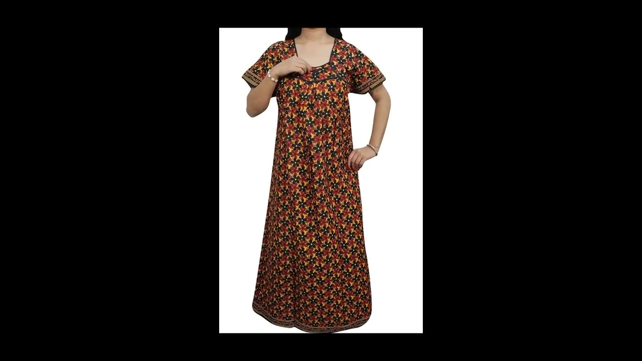 Women\'s Summer Wear Sleepwear Cotton Night Gown - YouTube