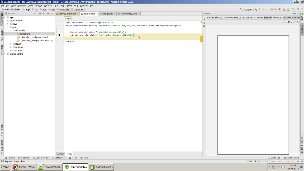 How to draw a Border around TextView EditText or in Android Studio?