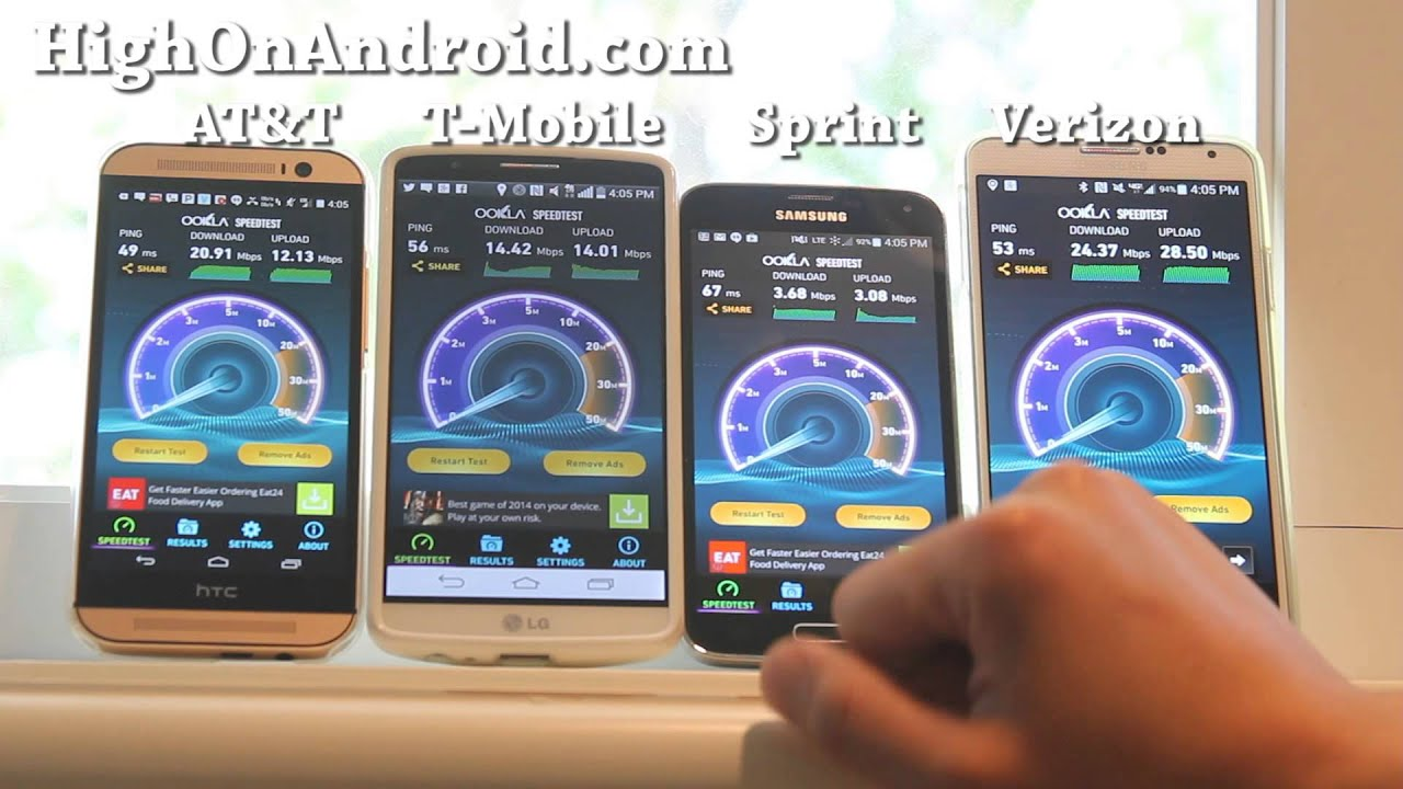 AT\u0026T vs. T-Mobile vs. Sprint vs. Verizon 4G LTE Speed Test! - YouTube