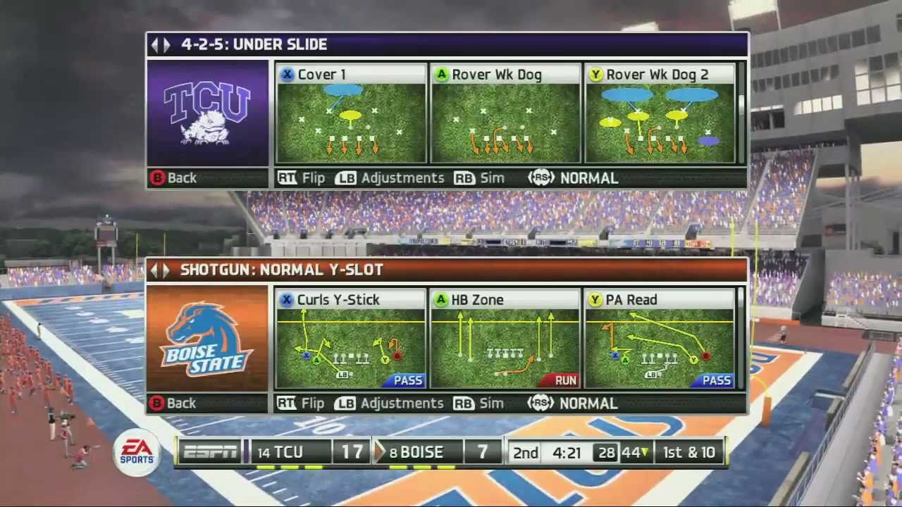 NCAA Football 12 GAMEPLAY - Boise St. Spread vs. TCU 4-2-5 ...