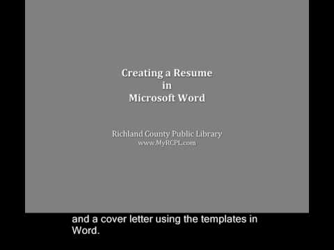 Creating a Resume in Microsoft Word 2007 - YouTube