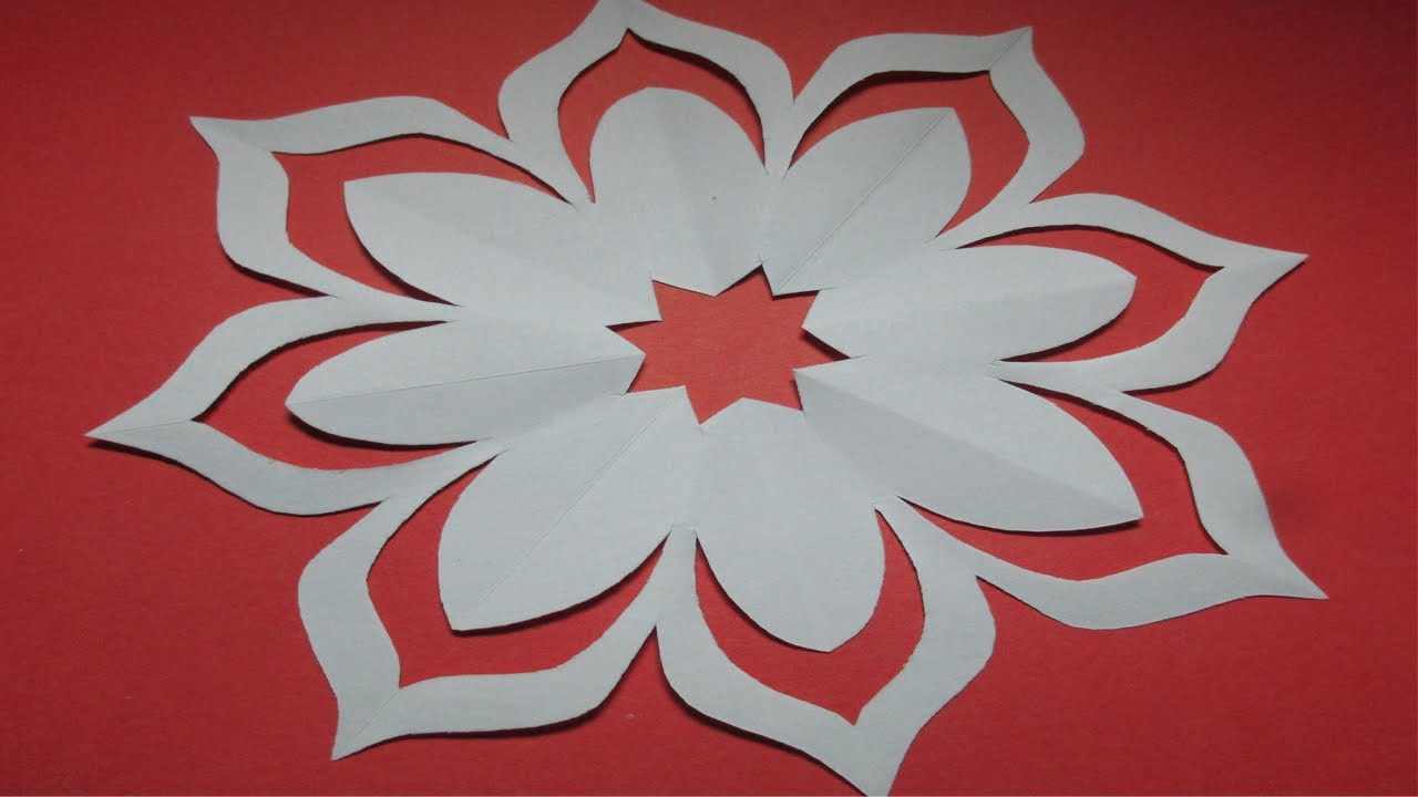 Room decoration with paper cuttings - How To Make Simple Easy Paper Cutting Flower Designs Paper Flower Diy Tutorial By Step By Step
