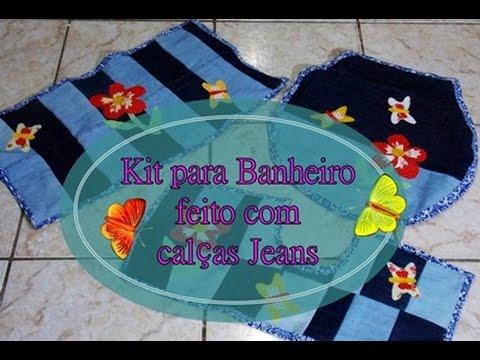 Reciclando Calças Jeans - Kit para Banheiro