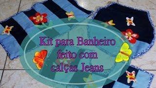 Reciclando Calças Jeans – Kit para Banheiro por Idéias da Tianinha