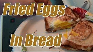Fried Egg In Bread With Ham And Cheese - Breakfast Sandwich