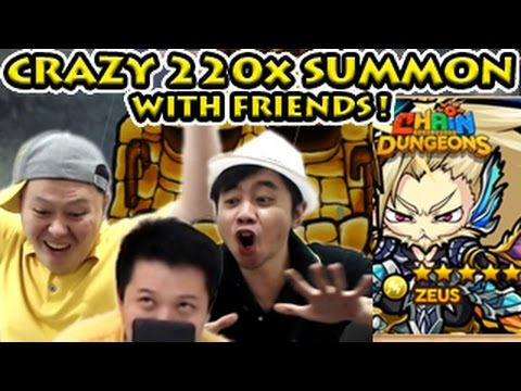 Chain Dungeons 220 Pulls Crazy Rare Summon With Friends For Zeus !? 【ポコダン】220連ガチャ