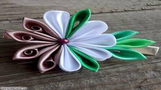 цветы канзаши из атласных лент своими руками ССЫЛКИ ПОД ВИДЕО!!!