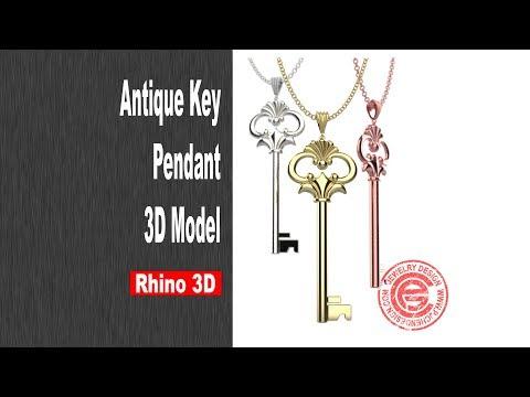 Antique Key Pendant 3D Modeling in Rhino 6 (2018)- Jewelry CAD Design Tutorial #39