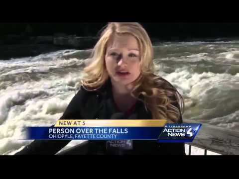Man goes over waterfall in Ohiopyle State Park