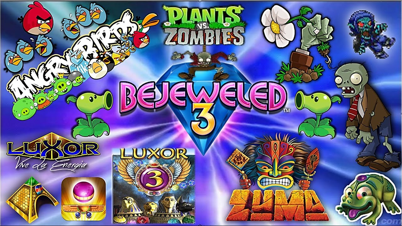 Divertidos Juegos Angry Birds Bejeweled3 Luxor Plants Vs Zombies
