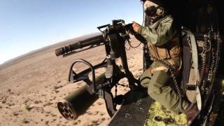 US Marine UH 1Y Huey Attack Helicopter Ammo Loading and Aerial Gunnery.