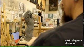 Лепка обрубовки торса - Обучение скульптуре. Фигура, 10 серия