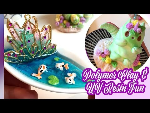 Polymer Clay and UV Resin DIY Crafts - Making a Cat Spinner, Plant Monster and Cute Koi Pond