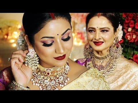 REKHA (Actress) INSPIRED LOOK | Indian Wedding Guest Makeup Tutorial