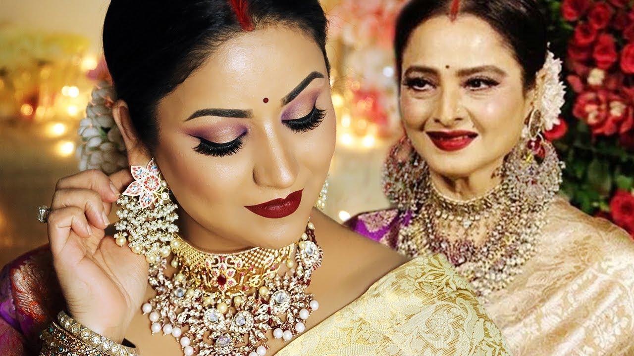 REKHA (Actress) INSPIRED LOOK   Indian Wedding Guest Makeup Tutorial