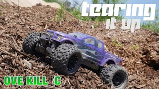 4s LiPo Traxxas Stampede 4x4 TEARING IT UP on Sand/Mulch Piles | Overkill RC