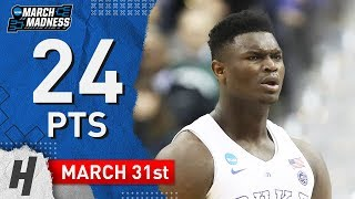 Zion Williamson Full Highlights Duke vs Michigan 2019.03.31 - 24 Pts, 14 Reb, 3 Blocks!