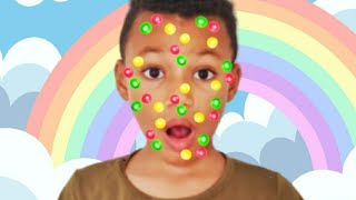 Candies stuck on Face. Funny story for kids by Kris and Kira