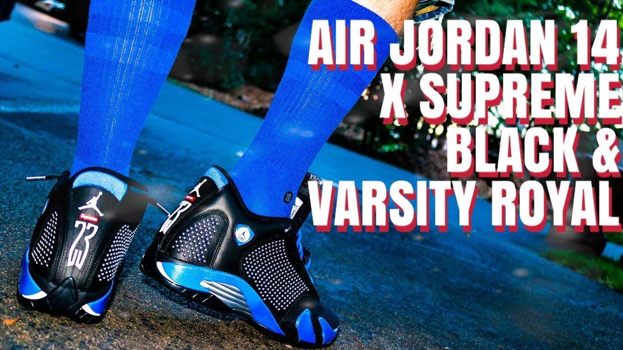 jordan 14 blue and black