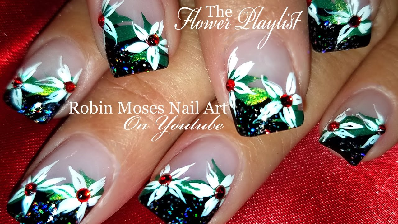 DIY White flower Nails | Elegant Christmas Nail Art Design ...