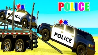 Learn POLICE CARS Transportation Spiderman Cartoon for Kids & Colors for Children Nursery Rhymes