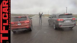 2016 Kia Sorento vs. Hyundai Santa Fe Mashup Drag Race Review(http://www.TFLcar.com ) The 2016 Kia Sorento and the 2015 Hyundai Santa Fe are new age crossover cousins. The Sorento is completely redesigned., 2015-05-02T12:34:23.000Z)