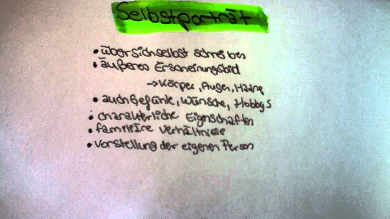 Selbstporträt schreiben / Selbstportrait anfertigen - Anleitung ...