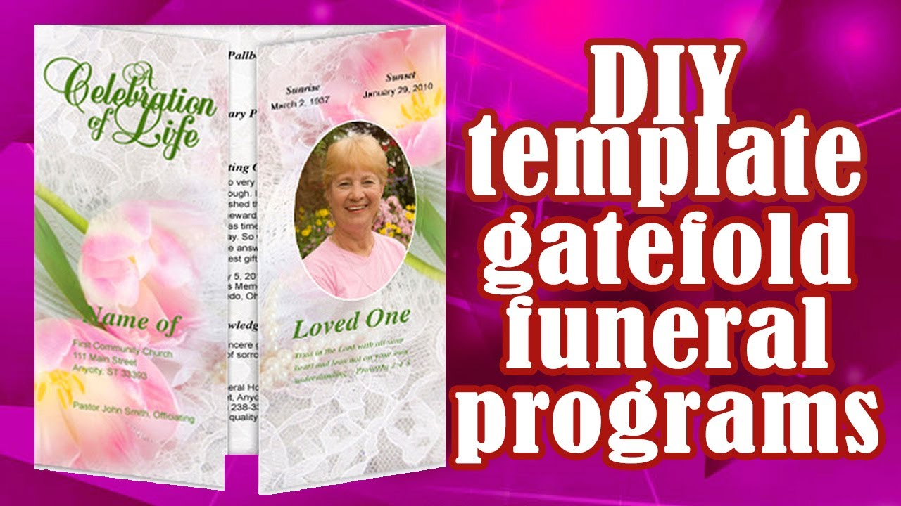 Printable Gatefold Program Templates   YouTube  Memorial Card Template Word