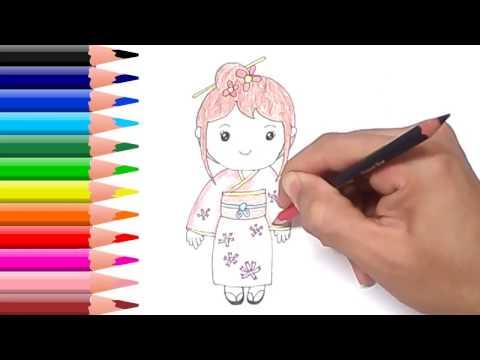เด็กผู้หญิงญี่ปุ่น สอนวาดรูปการ์ตูนน่ารักง่ายๆระบายสี Japanese Girl