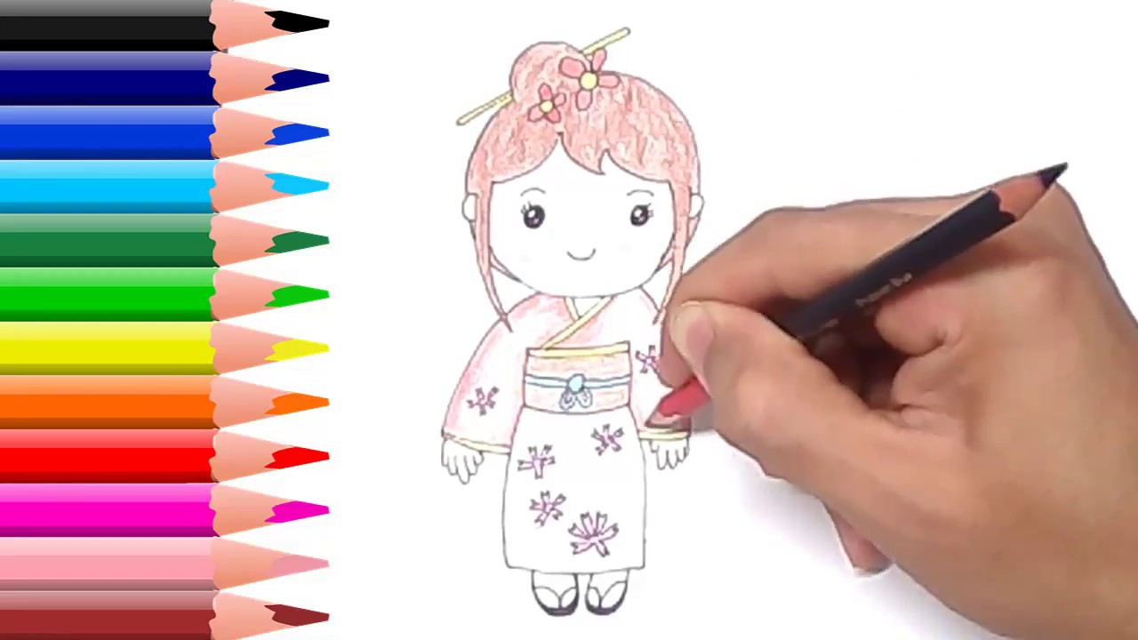 How to Draw Cute Japanese Girl Cartoon Easy for Kids Step ...