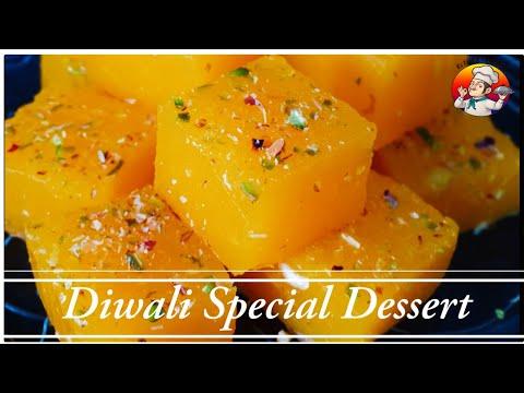 Custard Barfi Special Diwali Dessert | Simple Easy & Instant Sweet Dish | Homemade Custard Halwa