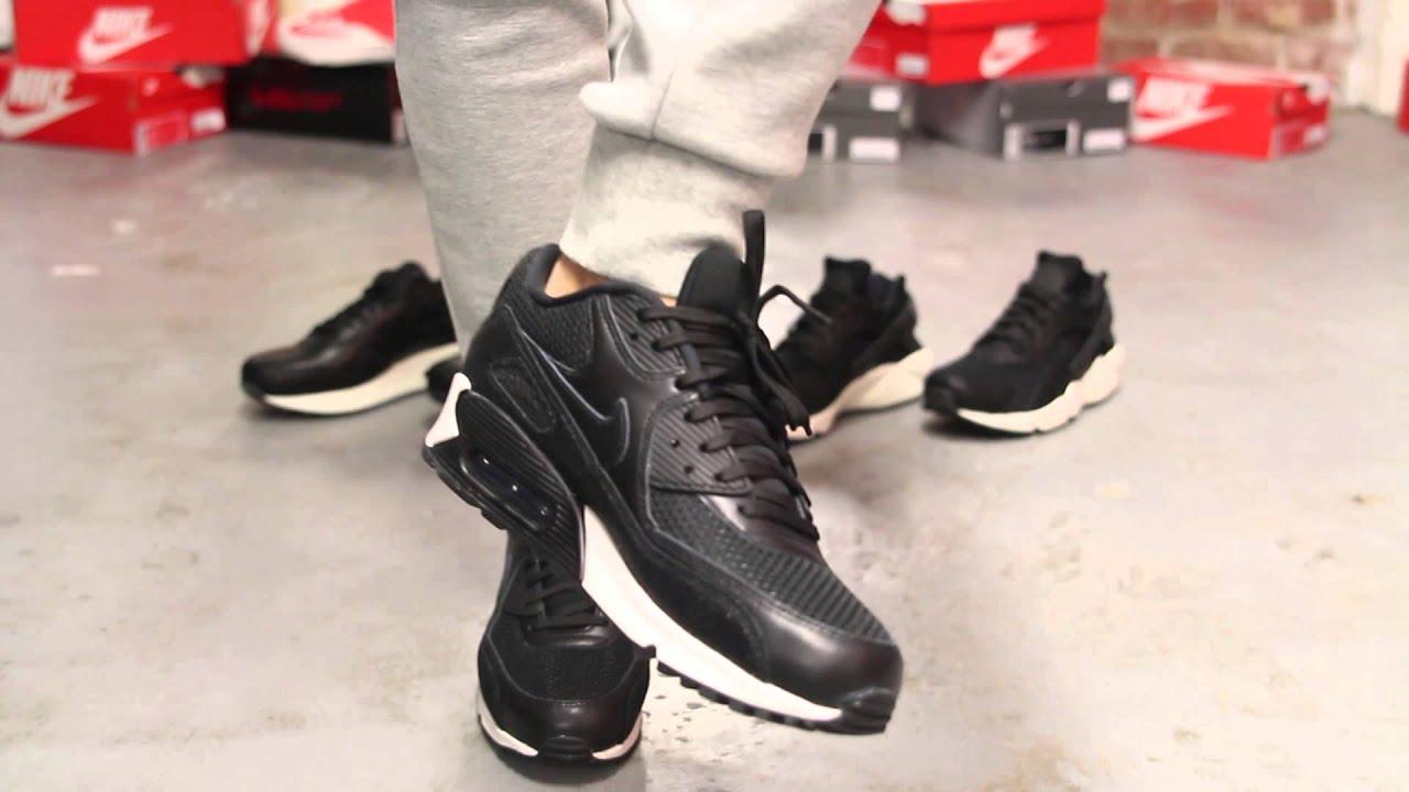 Nike Air Max 90 Black Leather On Feet