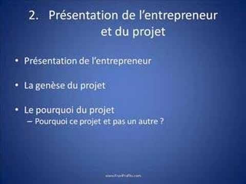 La structure-type du business plan (vidéo 3 sur 10)