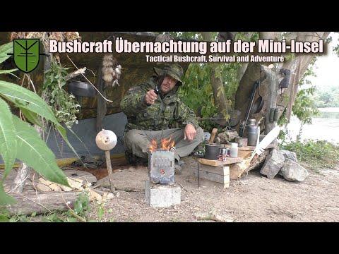 Bushcraft Übernachtung auf Mini-Insel / Camp, Kajak, Angeln, Kochen, Räuchern und Lagerfeuer.