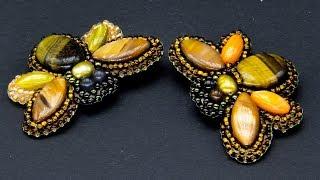 Подробный видеоурок по вышивке бисером и камнями броши Шмеля