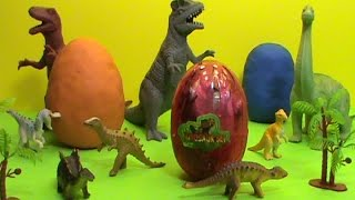 Dinosaurs surprise eggs toys Play Doh