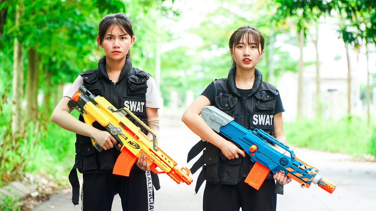 Xgirl Nerf War: X Girl Nerf vs Nerf Guns Criminal Group | CHERRY FACE TO FACE ALIBABA