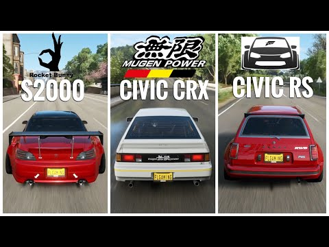 Forza Horizon 4   Rocket Bunny Honda S2000, Widebody Civic RS & Civic CRX Mugen Gameplay