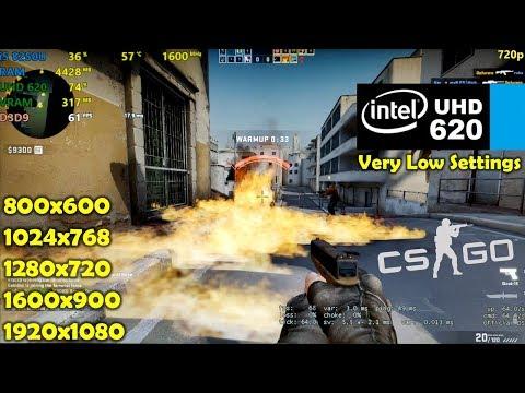 Intel UHD 620   CSGO - 1080p, 900p, 720p, 1024x768, 800x600 - Low Settings