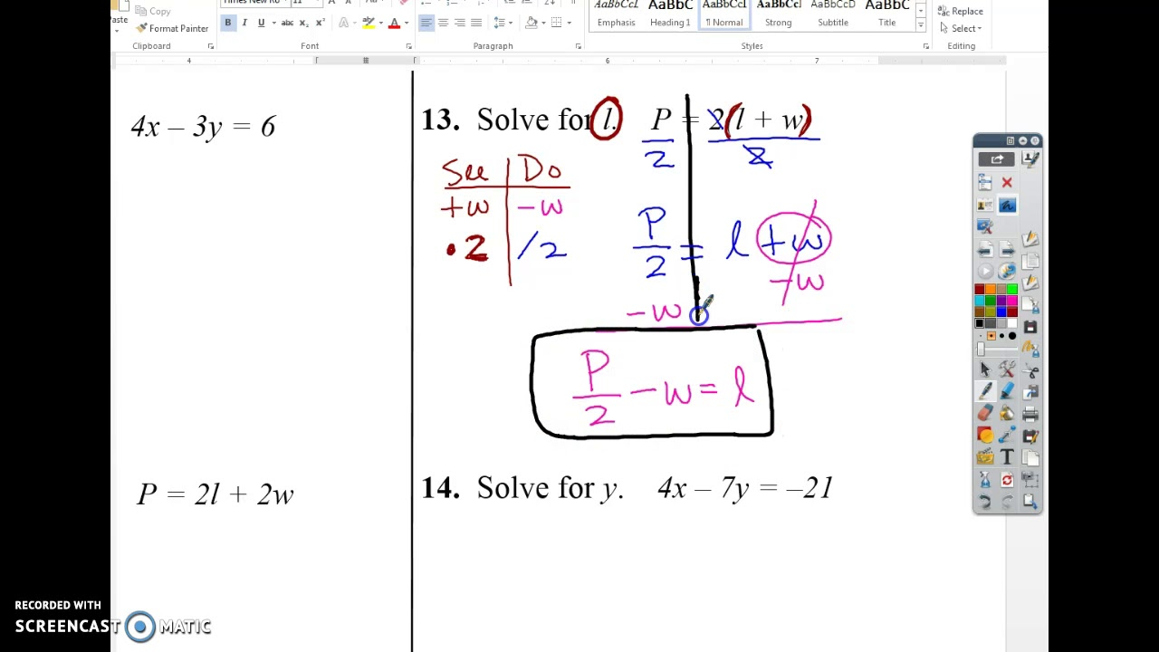 Literal Equations Worksheet Youtube