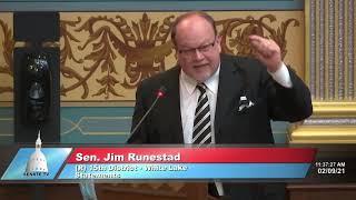 Sen. Runestad addresses the Senate on need for financial transparency