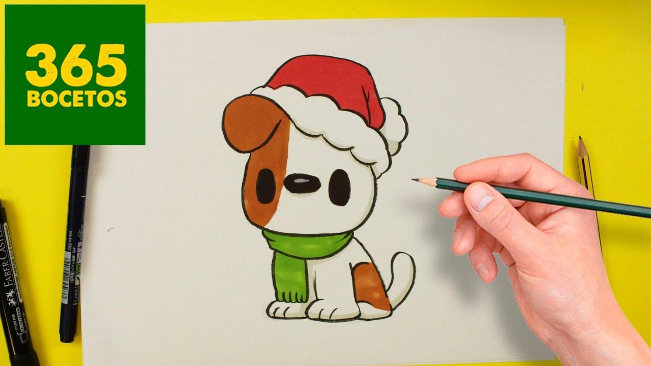 como dibujar un perro kawaii en navidad dibujos kawaii. Black Bedroom Furniture Sets. Home Design Ideas