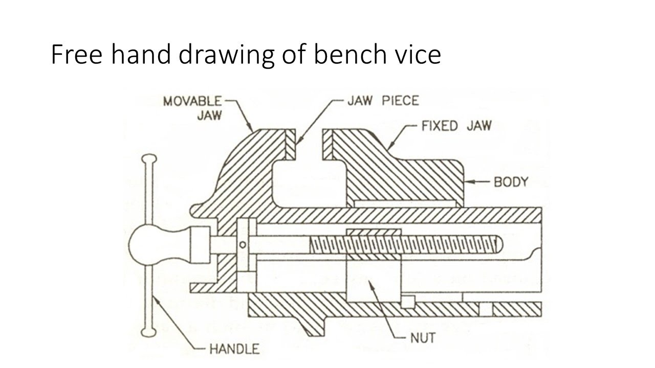 drawing details and assembly of simple bench vice