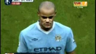 Kompany Sent off Red card Man City - Man Utd 2-3 *REAL* *HD*