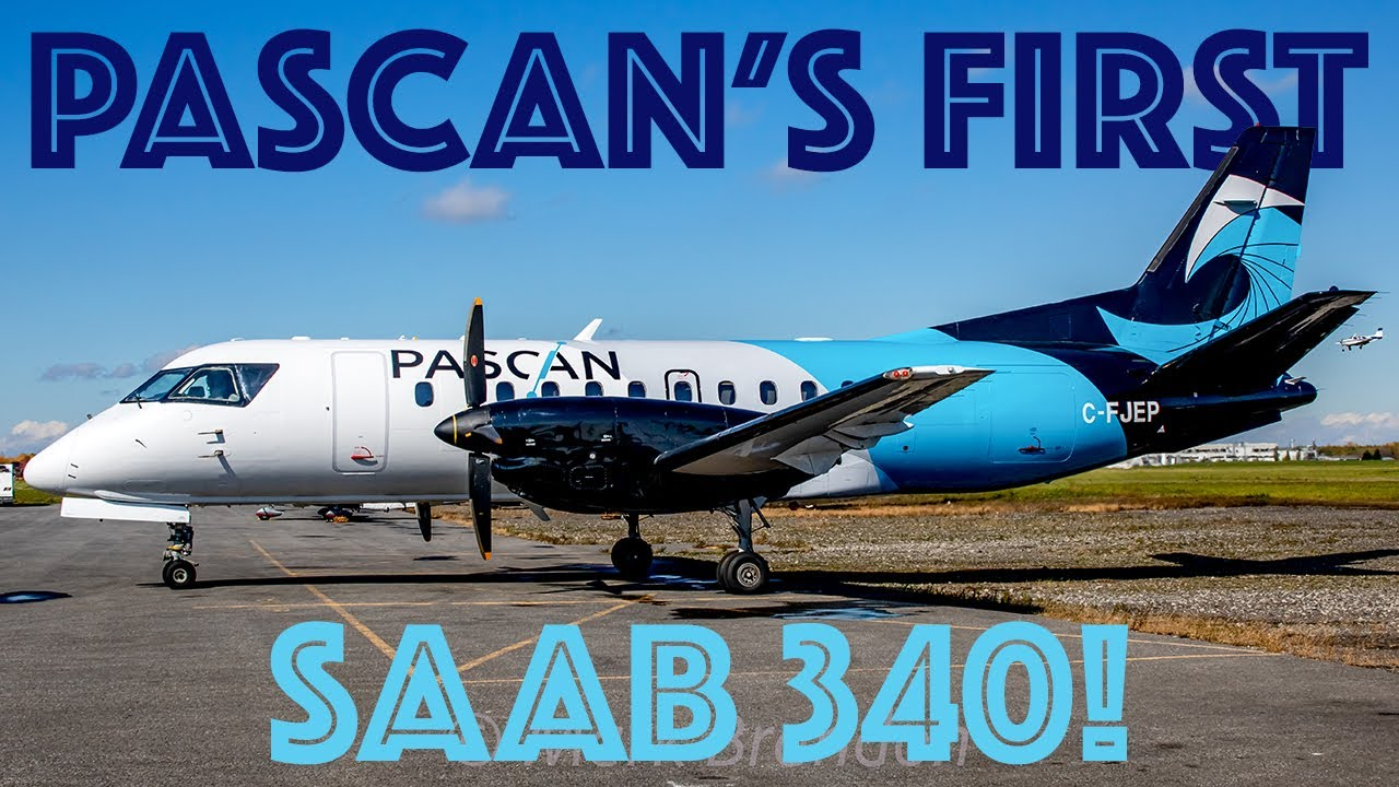 Download *INAUGURAL!!* Pascan's FIRST Saab 340 takes off from Montreal/ Saint-Hubert (YHU / CYHU)