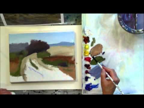 """The Red Tree"" Part 2 – Beginning Step by Step Acrylic Country Road Landscape Painting Demo"