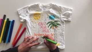 Using fabric markers on a kids tee