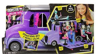 Monster High Deluxe Bus Unboxing Toy Review Transforms into a Mobile Salon