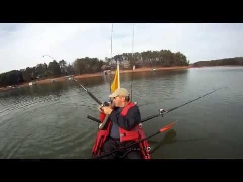 Kayak striper fishing lake lanier youtube for Striper fishing lake lanier